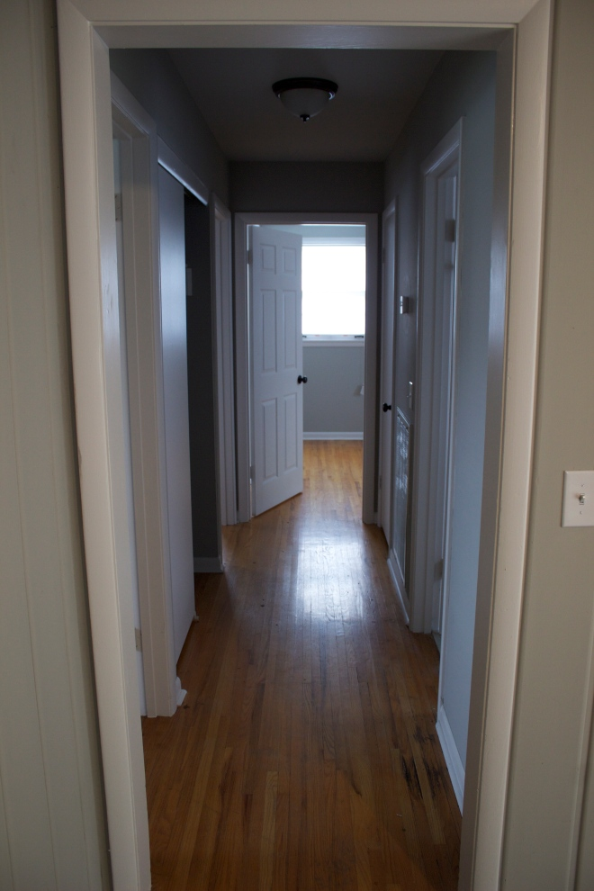 Hallway.  We like the hardwood floors. They're a little worn, but it adds character. Plus, we don't have to worry about Maebe scratching them up!